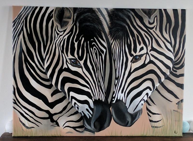 schilderij zebra's